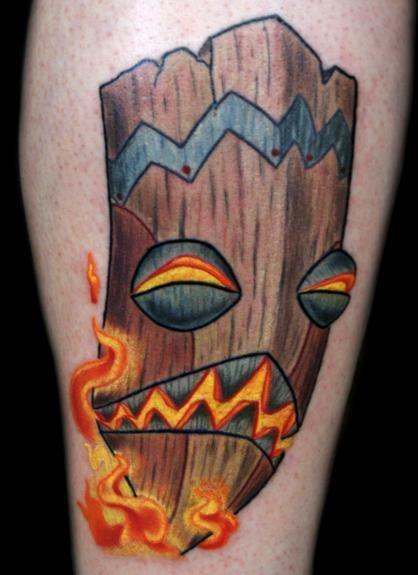 tattoo inspiration tattoo of the bob b q tiki mask with flames on bob himself tattoo uploaded. Black Bedroom Furniture Sets. Home Design Ideas