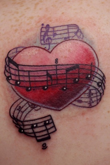 Tattoo inspiration Heart with Music Notes Tattoo uploaded ...