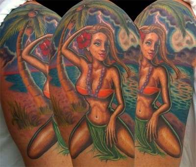 tattoo inspiration hula girl freehanded tattoo uploaded by galvin tattoo inspiration. Black Bedroom Furniture Sets. Home Design Ideas